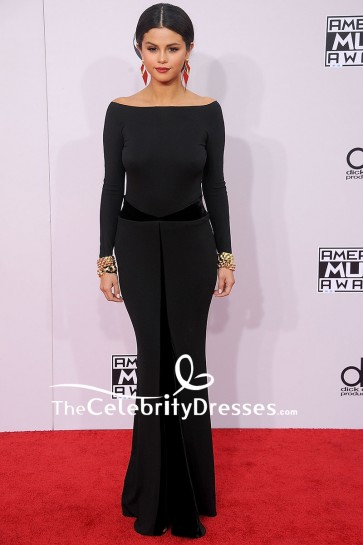 Selena Gomez Black Mermaid Backless Evening Dress With Long Sleeves 2014 American Music Awards