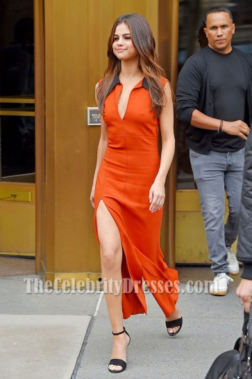 Selena Gomez Orange Red Sexy High Slit Sheath Prom Dress Z100 Radio Studio 2017