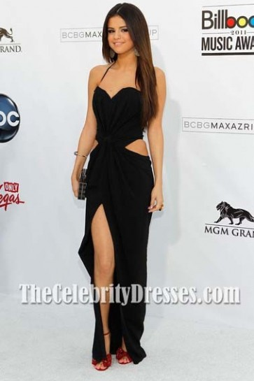 Selena Gomez Black Cut Out Prom Dress 2011 Billboard Music Awards