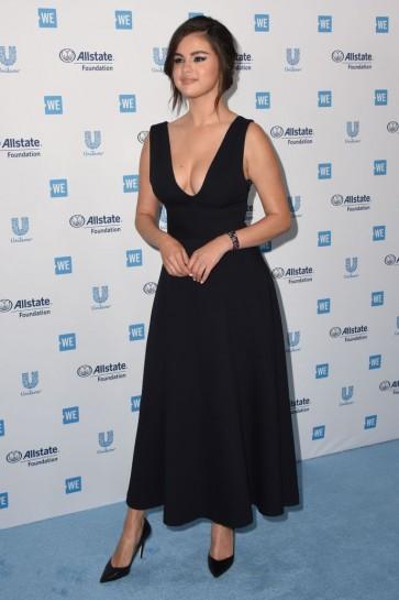 Selena Gomez Black Plunging Cocktail Dress WE Day California 2019