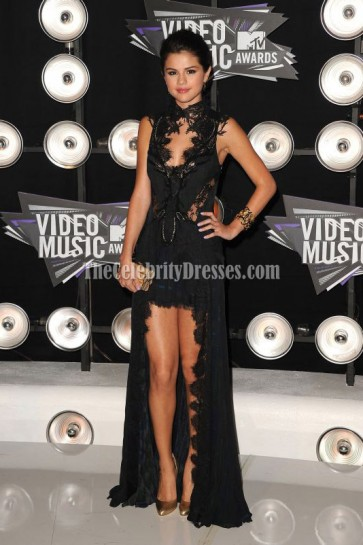 Selena Gomez Mtv Video Music Awards 2011 Black Lace Dress Celebrity Dresses