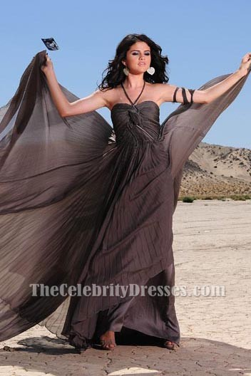 Selena Gomez Stunning Halter Prom Evening Dress From A
