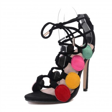 Sexy Cross Strap Women's Sandals Fight Color Stiletto Heels