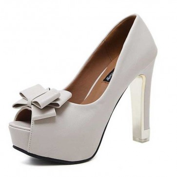 Sexy Nude Platform High Heels Fish Mouse Bow Prom Shoes For Women