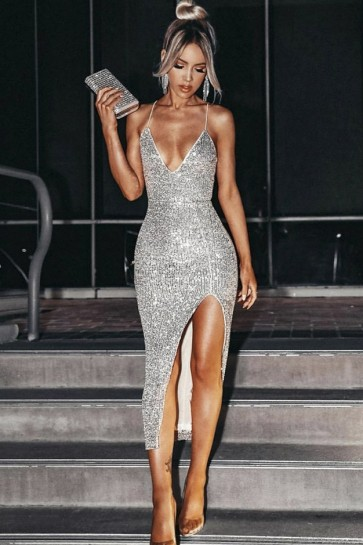 Sexy Silver Bodycon Party Dress