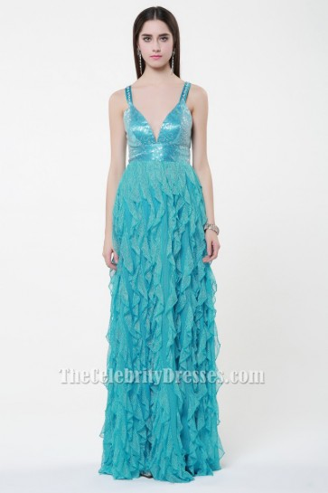 Sexy Backless Beaded Ruffles Prom Gown Evening Dresses