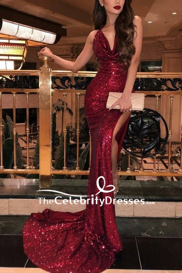 Sexy Burgundy Slit Cowl Mermaid Prom Dress