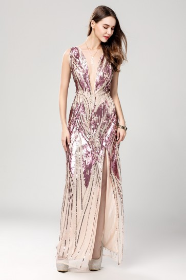 Sexy Sequined Evening Dress With High Split TCDBF2013