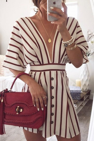 Sexy V-neck Striped Button Dress