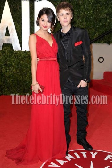 Selena Gomez Red Prom Evening Dress 2011 Oscars Red Carpet