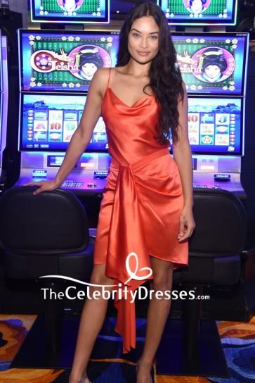 Shanina Shaik Sexy Draped Slip Dress HQ2 Opening Night