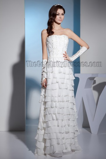 Sheath/Column Strapless Floor Length Embroidered Wedding Dress