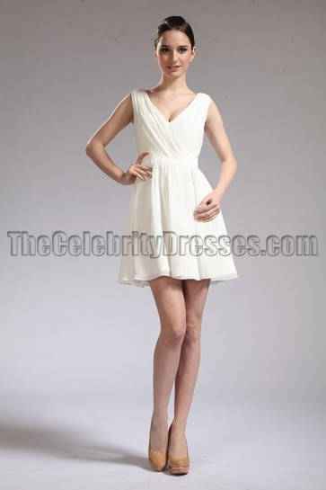 Celebrity Inspired Ivory Chiffon Party Homecoming Dresses