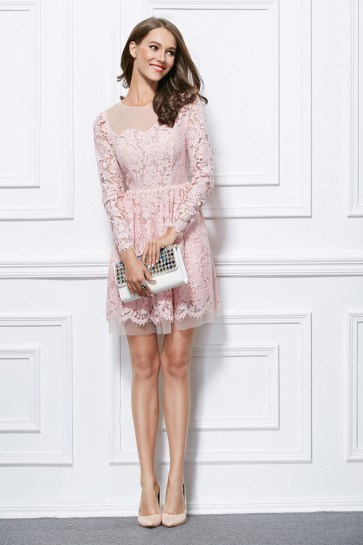 Short Mini Pink Lace Long Sleeve Party Graduation Dress TCDBF296