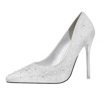Silver Rhinestone Stiletto Heels Wedding Pointed Toe Shoes