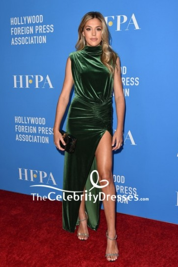 Sistine Stallone Green Slit Evening Dress 2019 HFPA Grants Banquet