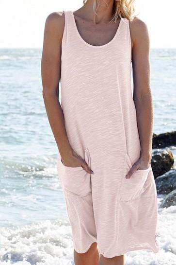 Sleeveless Pockets Tank Dress
