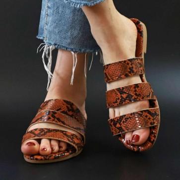 Snakeskin Print Open-toe Flat Slides