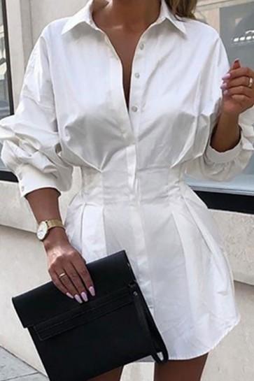 Solid Tight Waist Shirt Dress