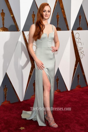 Sophie Turner 88th Annual Academy Awards Backless Evening Prom Gown 2016 Red Carpet Dress  1