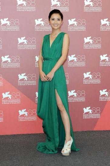 Charlene Choi Green Prom Evening Dress Venice Film Festival 2011