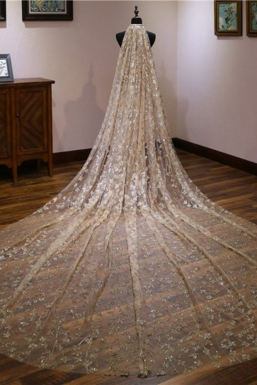 Sparkly Sequins Cathedral Bridal Veils With Applique