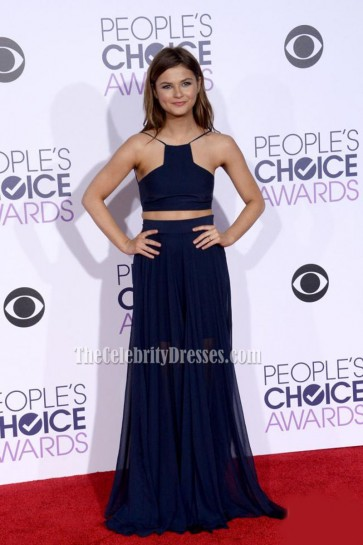 Stefanie Scott Navy Blue Two-Piece Evening Prom Dress 2016 People's Choice Awards 1