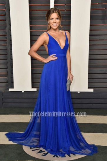 Stephanie Bauer 2016 Vanity Fair Oscar Party Blue Spaghetti Straps Evening Prom Gown  1