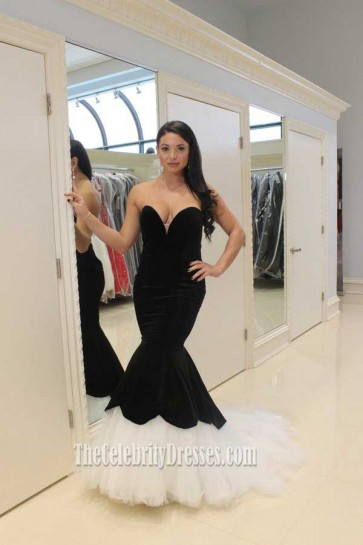 Strapless Mermaid Black And White Tulle Formal Evening Dresses