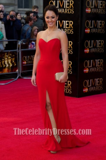 Susannah Fielding Red Prom Dress 2012 Olivier Awards Red Carpet