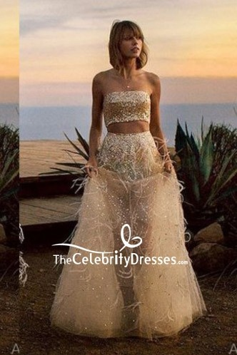 Taylor Swift Gold Tulle Beaded Two Pieces Feather Dress Photoshoot Vogue 2015
