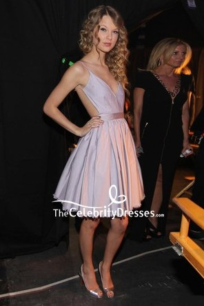 Taylor Swift Sexy Fit And Flare Backless Party Dress