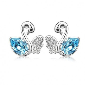 Women Swarovski Element Stud Earrings Swan Lack 1