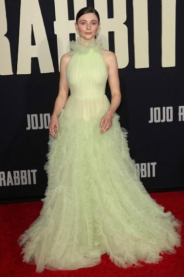 Thomasin McKenzie Sage Halter Ruffled Ball Gown Premiere Of Jojo Rabbit