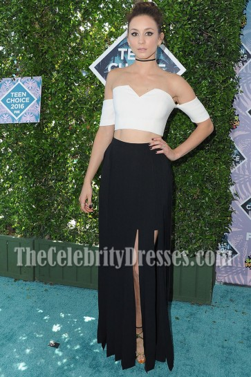 Troian Bellisario Black And White Off-the-shoulder Prom Gown Teen Choice Awards 2016 1