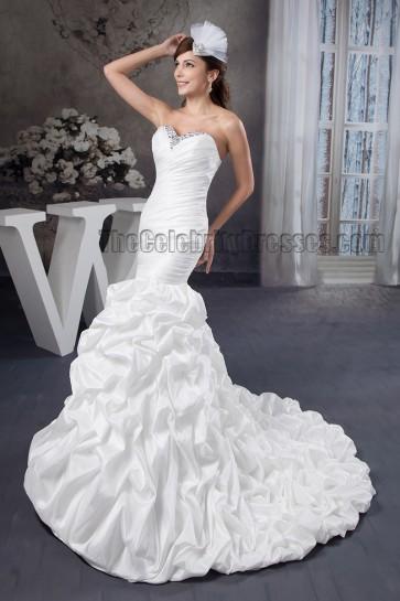 Trumpet /Mermaid Strapless Sweetheart Beaded Ruffles Wedding Dress