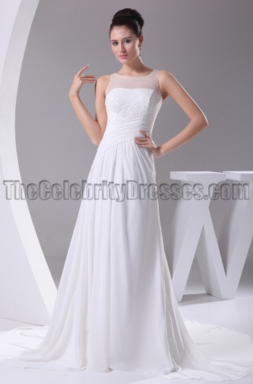 Tulle Chiffon A-Line Count Train Wedding Dress
