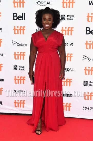 Uzo Aduba Bright Red Deep V-neck Evening Dress Premiere of 'American Pastoral' 5
