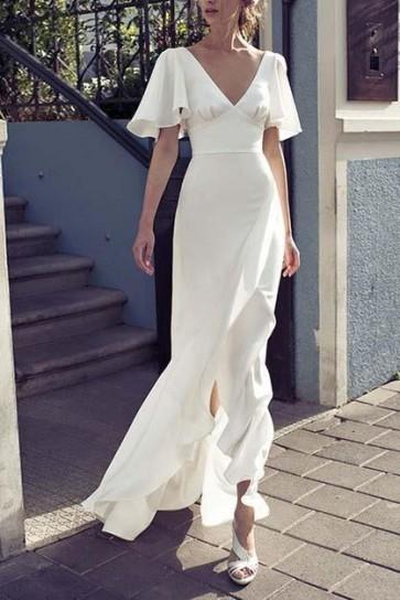 White V-neck Prom Dress With Short Sleeves