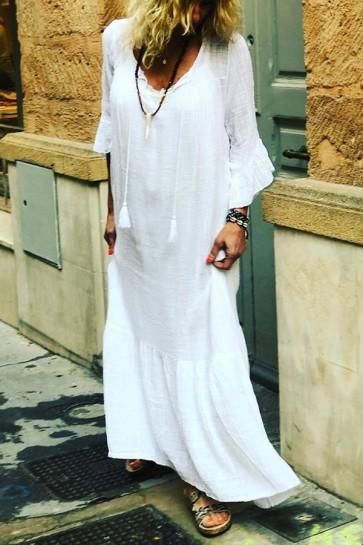 V-neck Pleated Tasseled Dress