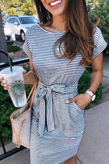 Versatile Lace-up Striped Dress