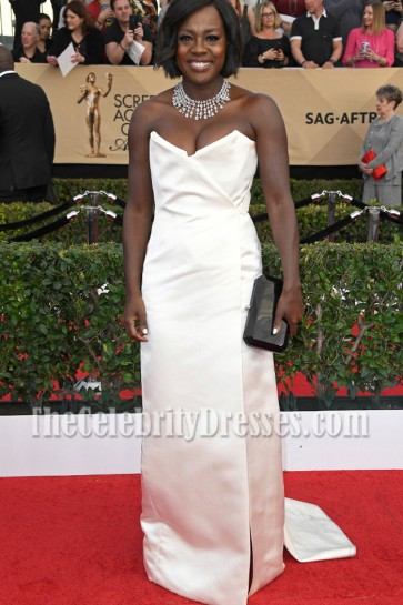 Viola Davis Ivory Strapless Evening Dress 2017 SAG Awards Red carpet gown