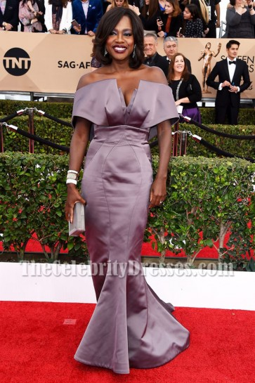 Viola Davis Strapless Mermaid Evening Prom Dress 2016 SAG Ball Gown TCD6979