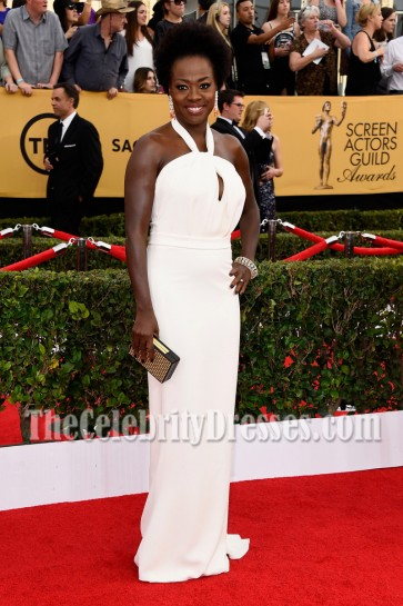 Viola Davis White Halter Long Evening Dress 2015 SAG Awards 2