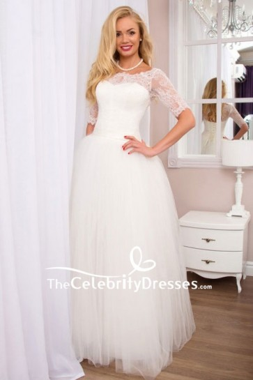 White A-line Lace Ball Gown With Half Sleeves