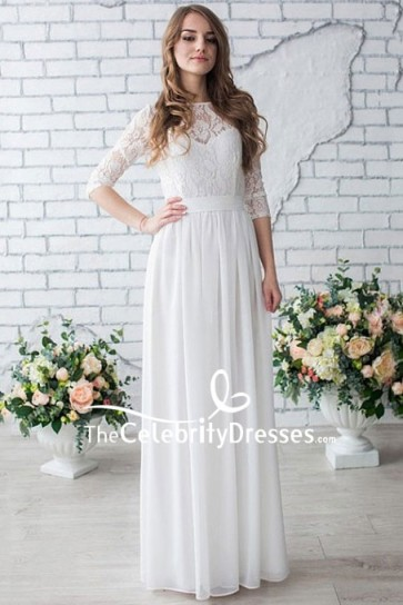White Floor Length Lace Prom Dress With Half Sleeves
