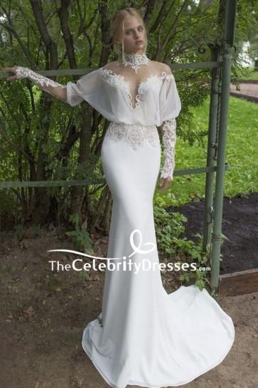 White Mermaid High Neck Applique Prom Wedding Dress