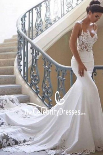 White Mermaid Lace Spaghetti Straps Wedding Dress