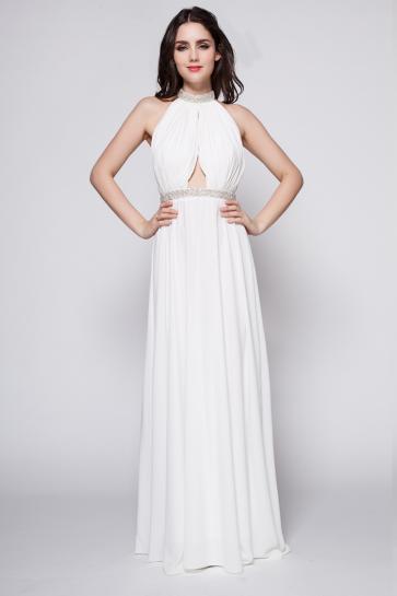 White Floor Length Beaded Backless Evening Dress Prom Gown