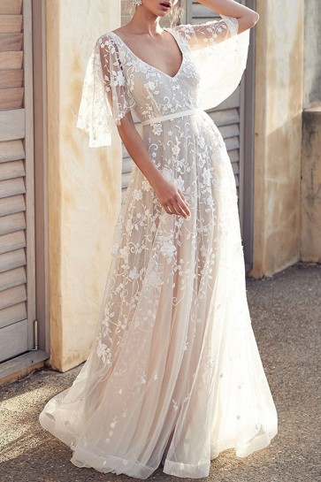White Lave A-line Prom Dress